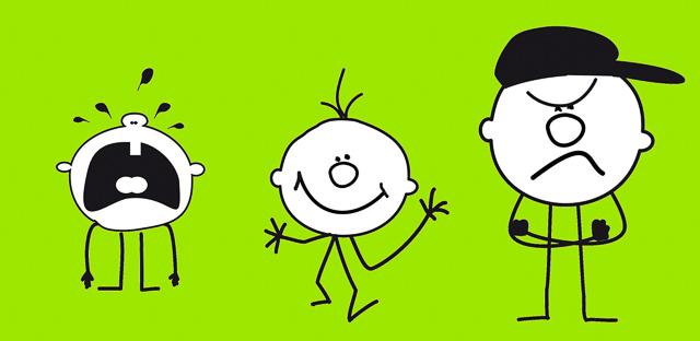 Piktogramm mit drei Kopffüßlern: schreiend, lächelnd, wütend